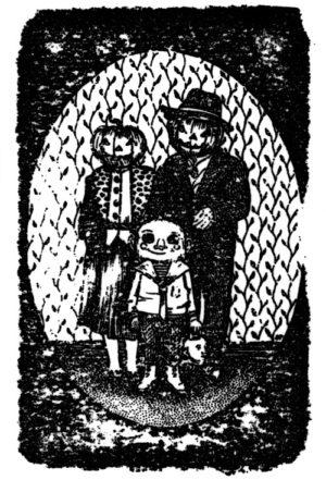 Carte postale Halloween Family par Saralisa Pegorier